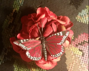 Small Red Flower and Butterfly Hair Clip