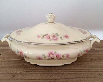 Vintage Homer Laughlin Virginia Rose Fluffy Rose Covered Vegetable Dish Tureen