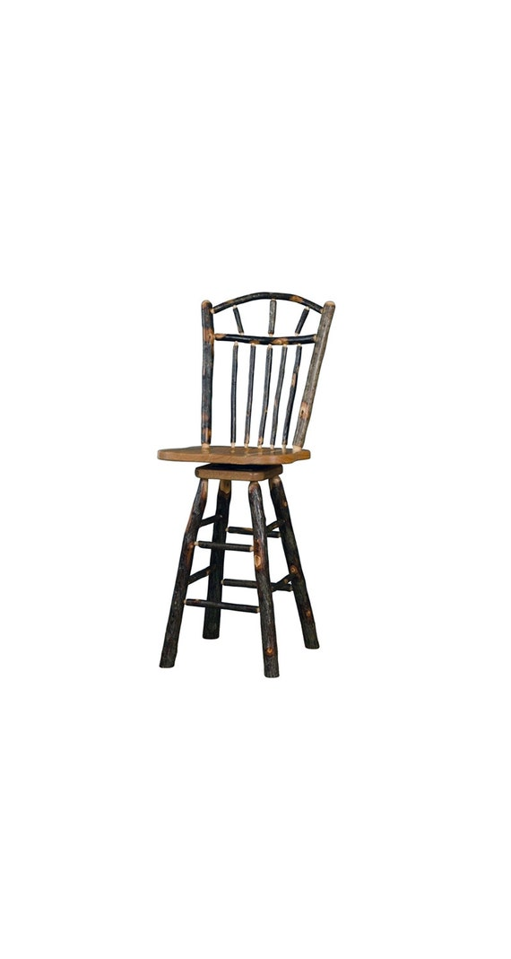 Free Ship 24 Rustic All Hickory Swivel Bar Stool By