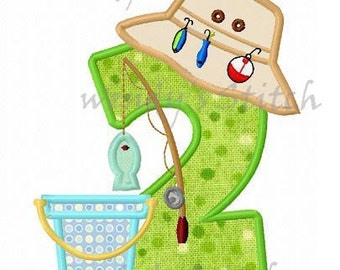 Fishing applique number 2 with lure machine embroidery design instant download
