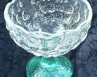SALE!! Vintage Two Tone Pressed Glass with Strawberry Motif  Compote circa 1940s