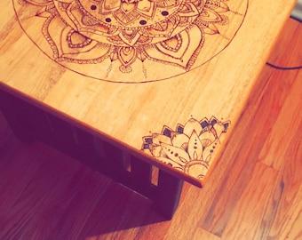 Wood burned mandala table