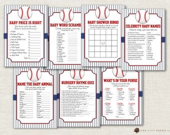 Baseball Baby Shower Games - Baseball Shower Games, Vintage Baseball Shower Games, Baseball Baby Shower, Little Slugger - Printable, DIY