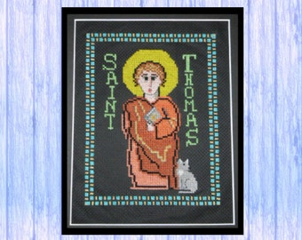 St Thomas the Apostle, Original Cross Stitch Chart, PDF Download, from Scotland, Sacred Art