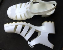 Vintage White Jelly Sandals - US Size 8