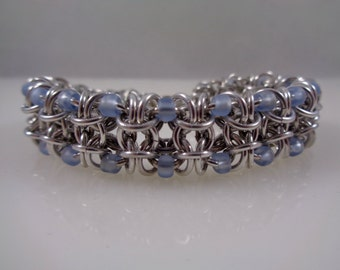 Matte Pale Blue Beaded Gridlock Chainmail Bracelet, Light Blue Chain Maille Bracelet; Powder Blue Chain Mail Bracelet, Chainmaille Bracelet