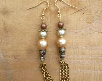 warm golden tassle earrings