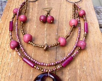 wine wood bib style multi strand necklace with earrings