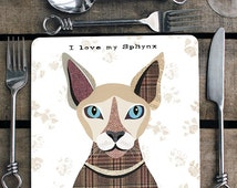 Sphynx cat personalised placemat/coaster