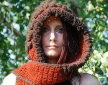 SALE Crochet Hoodie Crocheted Hooded Scarf Pixie Fairy Elven Hippie Bohemian Nymph Dryad Scoodie Pointy Hood Festival Clothing Dreadlock Hat