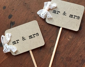 Mr and Mrs Cupcake Toppers | 12 | Rustic Wedding | Engagement Party | Wedding Cupcake Topper | Burlap Wedding Topper | I Do Cupcake Topper