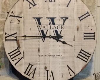 "36"" Custom Personalized Distressed  Handmade Clock-free shipping*"