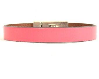 Men's Breast Cancer Awareness Bracelet - Pink 10mm Flat Leather Bracelet with Antique Silver Magnetic Toggle Clasp  (10F-211)