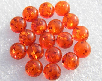 8MM Amber, Round Shape Calibrated Cabochons M-11