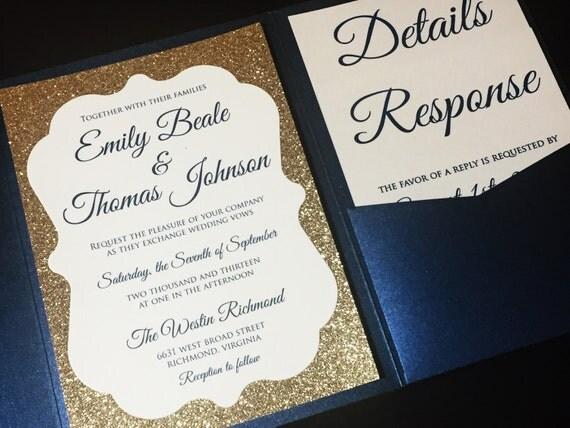 Navy Blue And Gold Wedding Invitations: Navy Blue And Gold Glitter Wedding Invitation Luxury