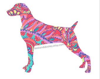 Lilly Pulitzer Inspired Weimaraner Vinyl Decal