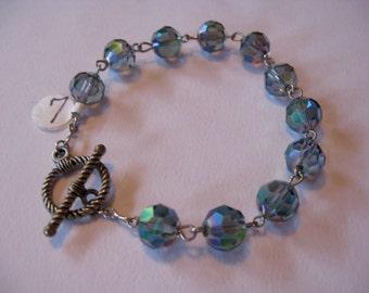 Bracelet size 7, 10mm Misty Blue Beads