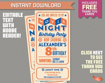 Movie Night Invitation with FREE Thank you Cards! Movie Night Party - Movie Night Birthday - Movie Ticket - Editable PDF file