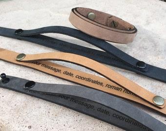 FREE SHIPPING-Hidden Message Bracelet,Personalized Leather Bracelet,Men's Leather Bracelet,Engraved Leather Bracelet,Double Strap Bracelet,