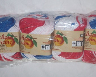 Peaches & Creme Cotton Yarn - Stars and Stripes (lot of 4 new) 2 oz/56.7 g each