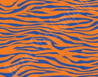 Blue and orange zebra print craft  vinyl sheet - HTV or Adhesive Vinyl -  pattern vinyl  HTV1231