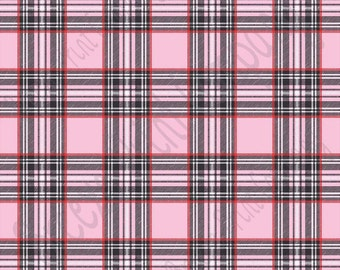 Light pink, red and black tartan plaid craft  vinyl sheet - HTV or Adhesive Vinyl -  Valentine's Day HTV1815