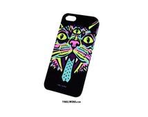 Trippy Cat Psychedelic Hippie Rave Trip Acid Neon Huichol Fluorescent Cat Neko Chat Gato Meow Roar Case Funda iPhone Samsung Galaxy