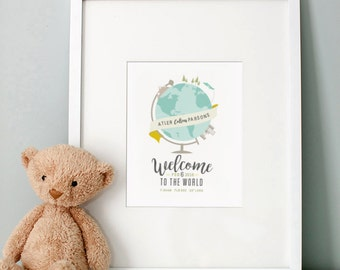 Welcome to the World Birth Announcement - Personalized Baby Nursery Print
