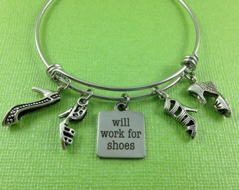 Shoe Charm Bracelet, Shoe Bangle, Gift for Her, Gift for Shoe Lover, Stainless Steel Bangle