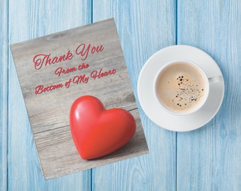 Thank You Card, Thank you Cards, Notes, Rustic, Heart, Card
