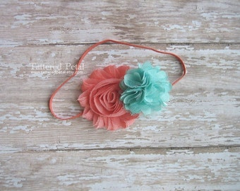 Coral headband, coral and mint, mint and coral headband, coral and aqua headband, mint headband, newborn headband, coral baby headband