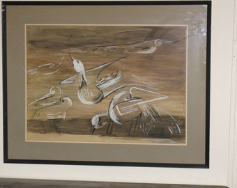 Large original watercolor painting signed Bernadine Schaefer dated 1966 framed seagulls abstract beach birds