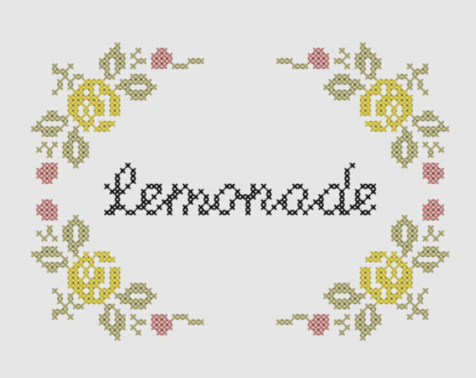 Cross stitch pattern 'Lemonade' - inspired by Beyoncé
