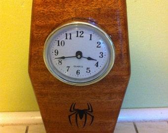 Desk Clock ~ Wood ~ Spider Decal