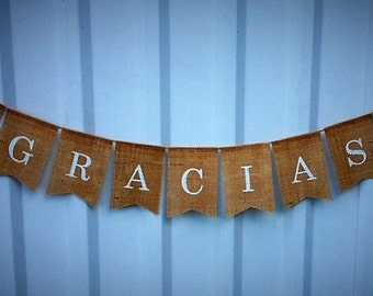 GRACIAS - Wedding Banner, Burlap Photo Prop, Thank You Card Decoration