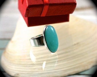 Amazonite sterling silver ring 7 1/4-7.5 US size