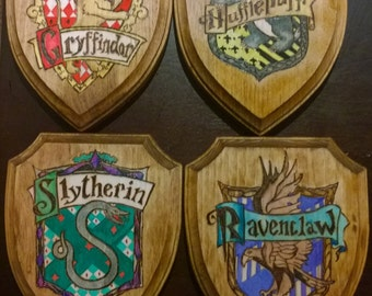Hogwarts houses wood burn