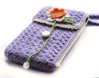 Crochet Phone Case, Purple Phone Sleeve, Oyster card holder, Pouch with Strap, Android case, Travel Pouch