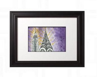 Chrysler Building wall art, Empire State original acrylic painting, pop art, modern art work, whimsical canvas, NYC skyline art