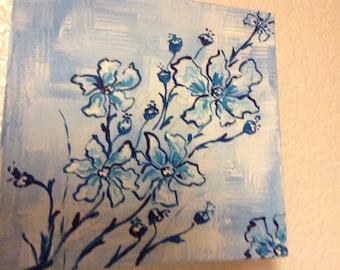 Blue Poseys/Delicate blue field flowers on blue