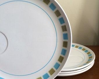 Jonas Roberts Cera-stone Plates Tivoli Snack Plates Blue and Green Patterned
