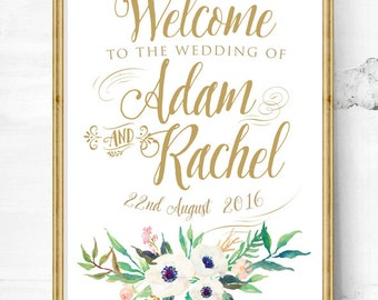 wedding sign - wedding entrance sign - calligraphy sign - wedding welcome sign - wedding art print - custom wedding sign - reception sign