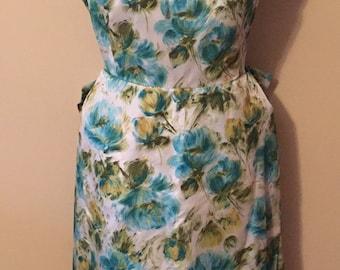 1950s floral spring tea dress green blue teal Vintage