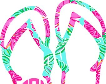 Monogram Decal, Car Monogram, Flip Flop Monogram Decal
