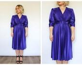 Vintage 1980's Purple Pleated Midi Skater Dress 12 14 16 M L UK
