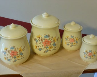 Set of Four Saltera Floral Canisters