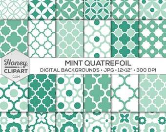 Mint quatrefoil patterns