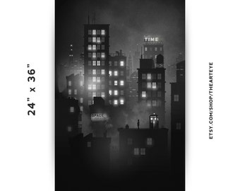 "24""x36"" Doctor Who Noir // B&W Mist Over City with Police Box Poster"
