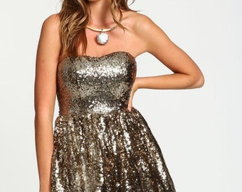 SALE Gold Sequin Dress - Small