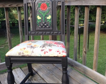 Hand Painted Floral Accent Chair